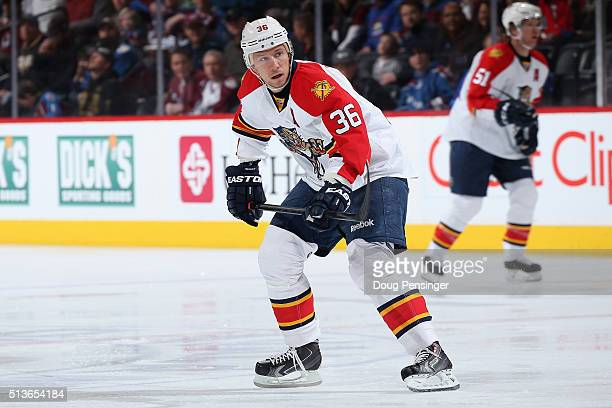 Jussi Jokinen of the Florida Panthers skates against the Colorado Avalanche at Pepsi Center on March 3 2016 in Denver Colorado The Avalanche defeated...