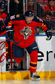 Jussi Jokinen of the Florida Panthers skates on the ice prior to the start of the game against the Edmonton Oilers at the BBT Center on January 17...