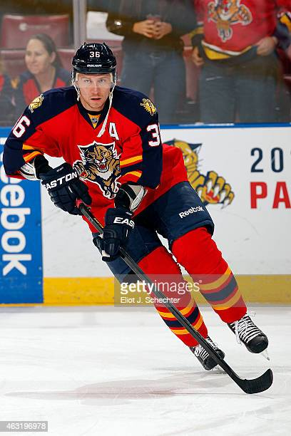 Jussi Jokinen of the Florida Panthers skates on the ice prior to the start of the game against the Anaheim Ducks at the BBT Center on February 10...