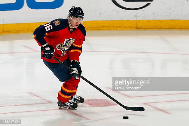 Jussi Jokinen of the Florida Panthers skates with the puck against the Tampa Bay Lightning at the BBT Center on March 1 2015 in Sunrise Florida