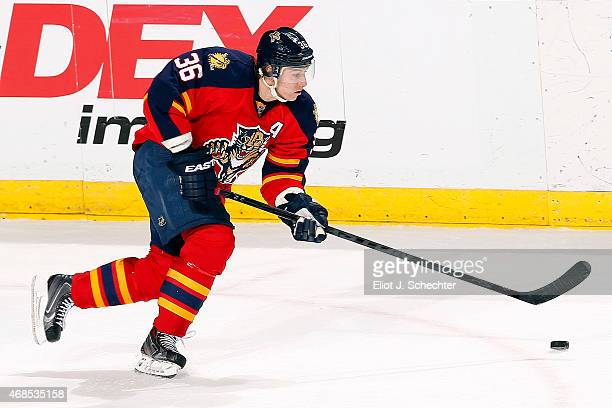 Jussi Jokinen of the Florida Panthers skates with the puck against the Carolina Hurricanes at the BBT Center on April 2 2015 in Sunrise Florida