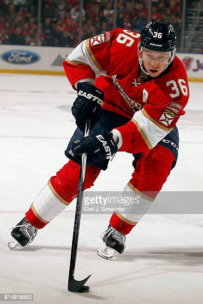 Jussi Jokinen of the Florida Panthers skates with the puck against the New Jersey Devils at the BBT Center on October 13 2016 in Sunrise Florida