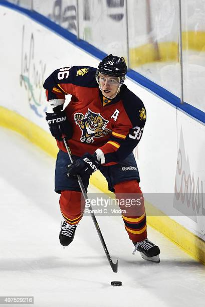 Jussi Jokinen of the Florida Panthers skates with the puck during a NHL game against the Calgary Flames at the BBT Center on November 10 2015 in...