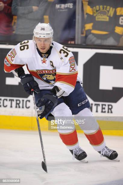 Jussi Jokinen of the Florida Panthers warms up against the Boston Bruins at the TD Garden on April 1 2017 in Boston Massachusetts