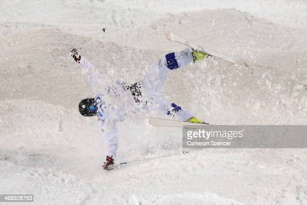 Jussi Penttala of Finland crashes out in the Men's Moguls Qualification on day three of the Sochi 2014 Winter Olympics at Rosa Khutor Extreme Park on...