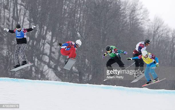 Jussi Taka of Finland Pierre Vaultier of France Jarryd Hughes of Australia Emil Novak of the Czech Republic and Hanno Douschan of Austria compete in...