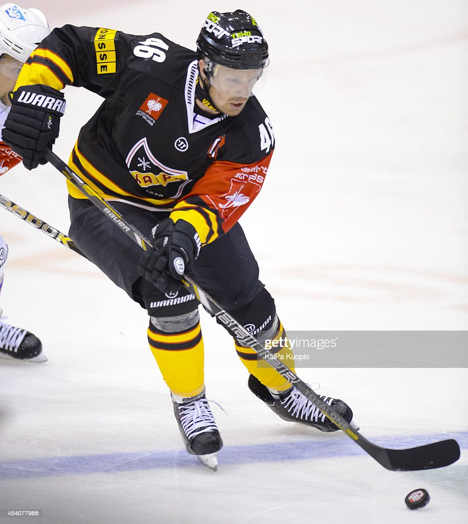 Jussi Timonen #46 moves the puck during the Champions Hockey League group stage game between KalPa Kuopio and Adler Mannheim on August 24, 2014 in in Kuopio, Finland.