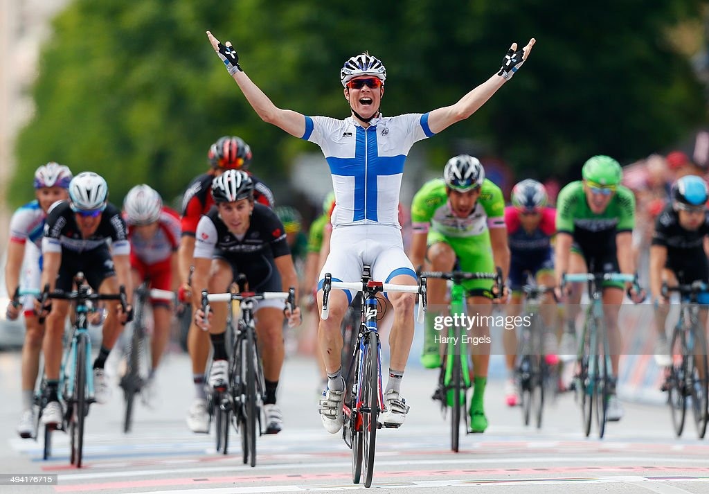 Jussi Veikkanen of Finland and team FDJ.fr celebrates thinking he'd won the stage when he'd actually finished in sixth place during the seventeenth stage of the 2014 Giro d'Italia, a 208km stage between Sarnonico and Vittorio Veneto on May 28, 2014 in Vittorio Veneto, Italy.