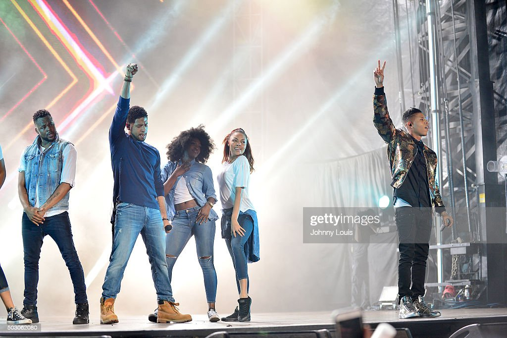 Jussie Smollett and Bryshere Y Gray perform at Pitbulls New Years Eve Revolution 2016 at Bayfront Park Amphitheater on December 31 2015 in Miami...