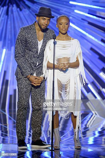 Jussie Smollett and Serayah speak onstage during the 2015 MTV Video Music Awards at Microsoft Theater on August 30 2015 in Los Angeles California