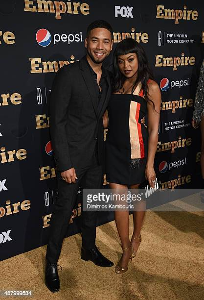 Jussie Smollett and Taraji P Henson attend the 'Empire' series season 2 New York Premiere at Carnegie Hall on September 12 2015 in New York City