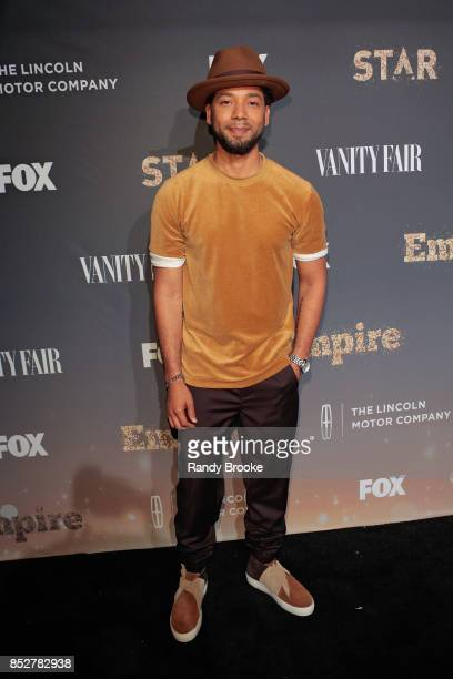Jussie Smollett poses on the red carpet during the 'Empire' 'Star' Celebrate FOX's New Wednesday Night at One World Observatory on September 23 2017...