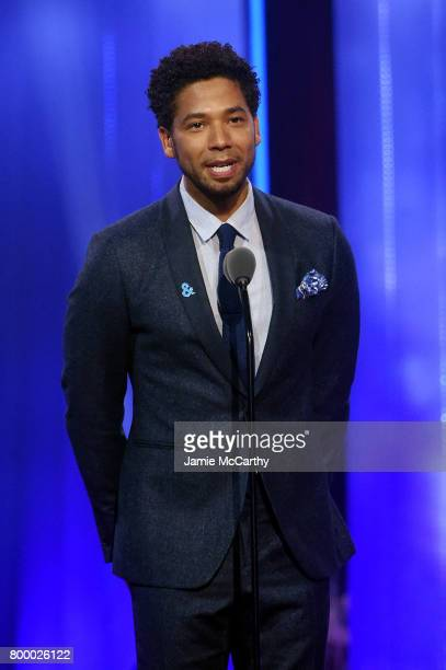 Jussie Smollett speaks onstage at the Logo's 2017 Trailblazer Honors event at Cathedral of St John the Divine on June 22 2017 in New York City