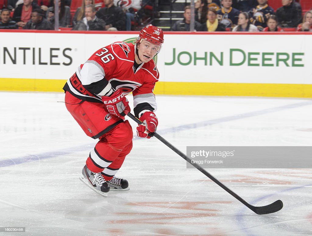 Jussii Jokinen #36 of the Carolina Hurricanes skates for position on the ice during their NHL game against the Buffalo Sabres at PNC Arena on January 24, 2013 in Raleigh, North Carolina.