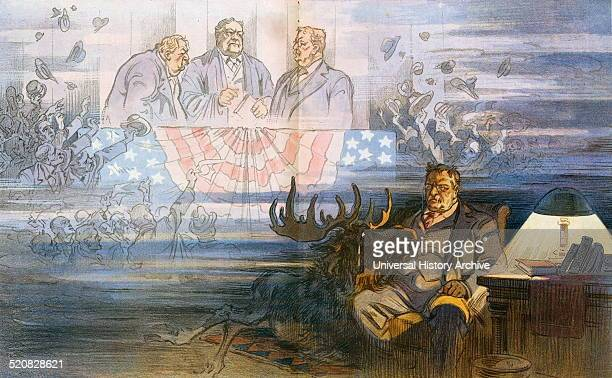 that is all' Theodore Roosevelt sitting in a chair with a bull moose who is crying and looking up at him in the background the vision shows crowds...