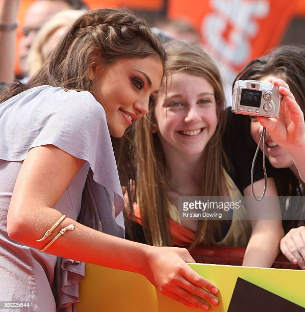 'H20 Just Add Water' star Phoebe Tonkin s with fans as she arrives at the Nickelodeon Australian Kids' Choice Awards 2008 at the Hisense Arena on...