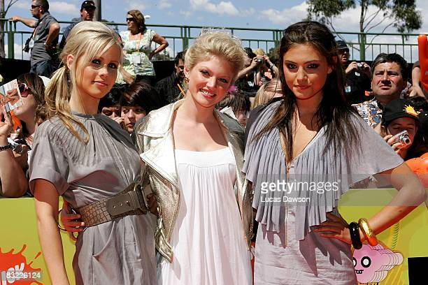 'H20 Just Add Water' stars Cariba Heine Phoebe Tonkin and Claire Holt pose backstage at the Nickelodeon Australian Kids' Choice Awards 2008 at the...