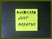 Relaxation reminder on yellow sticky note. Mental health awareness concept.