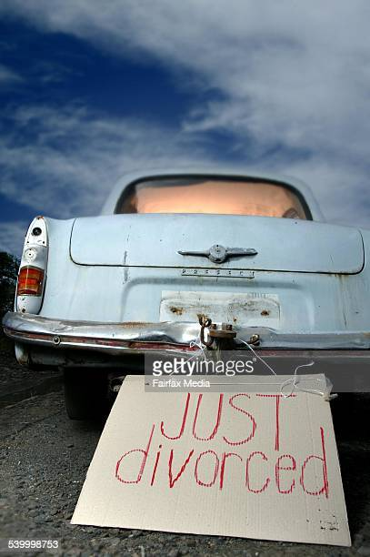 'Just Divorced' sign on the back of a vintage car 30 January 2006 AFR Picture by PAUL JONES