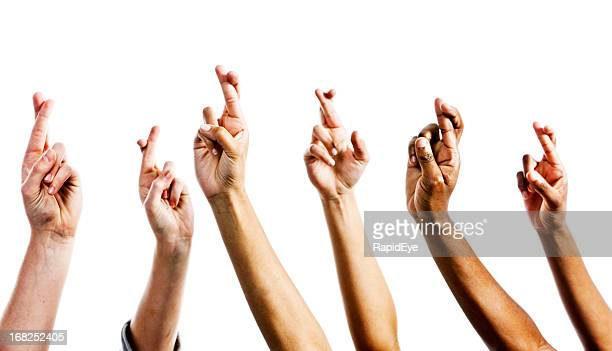 Just in case! Six hands with crossed fingers for protection