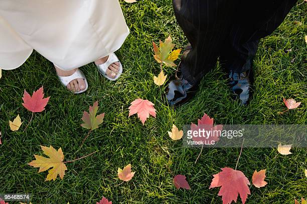 Just married couple standing on leaves