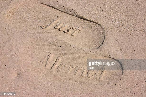 Just Married footprints