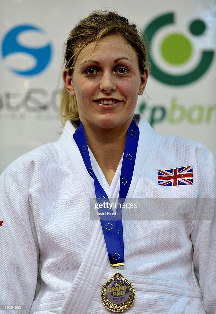 Just months after winning an Olympic silver medal, <a gi-track='captionPersonalityLinkClicked' href=/galleries/search?phrase=Gemma+Gibbons&family=editorial&specificpeople=7541729 ng-click='$event.stopPropagation()'>Gemma Gibbons</a> of Great Britain returns to international competition judo to win a second major medal with gold during Day 2 of the Dusseldorf Grand Prix at the Mitsubishi Electric on February 24, 2013 in Halle, Dusseldorf, Germany.