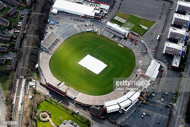 Just outside the city of Manchester is the historic Cricket ground of Old Trafford in this aerial photo taken on 9th September 2006