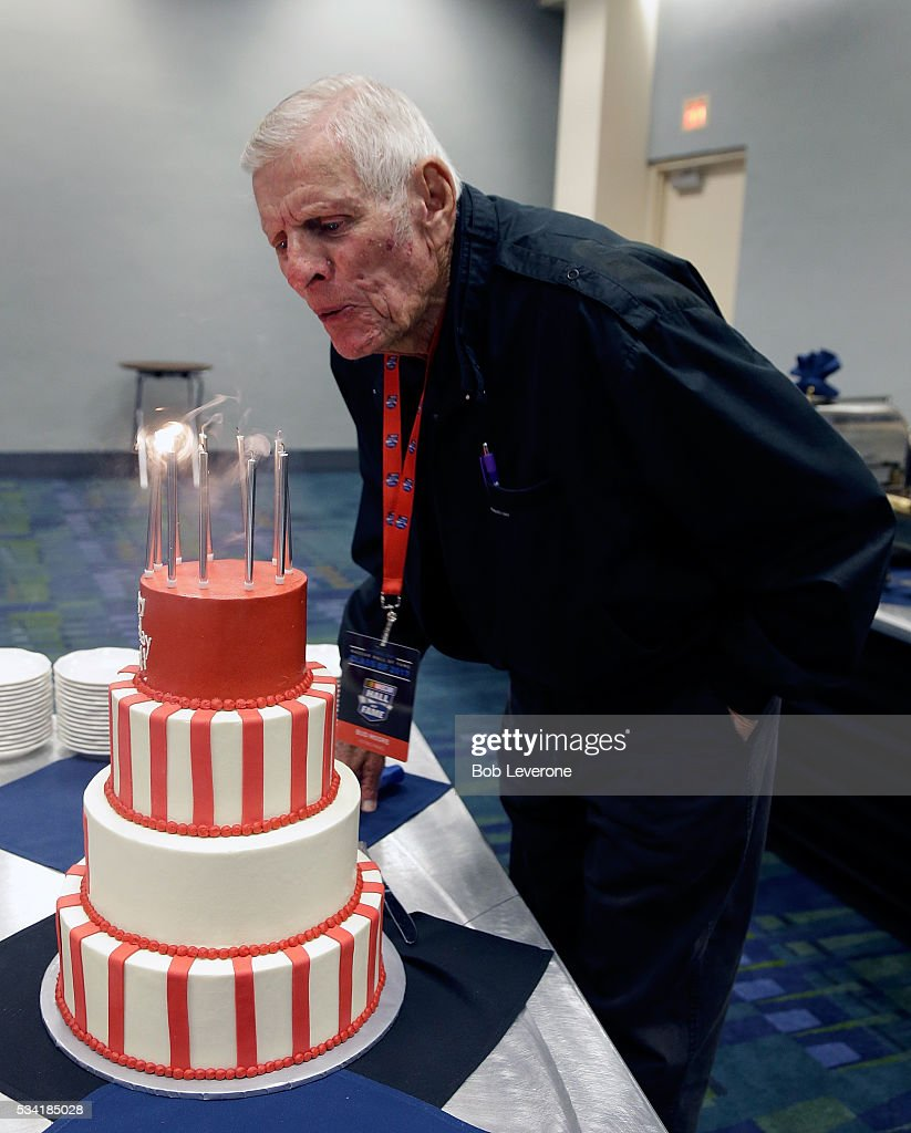 Just prior to the meeting of NASCAR Hall of Fame voters, Hall of Fame car owner/crew chief Bud Moore got to blow out the candles on his ninety-first birthday cake at the Charlotte Convention Center on May 25, 2016 in Charlotte, North Carolina.