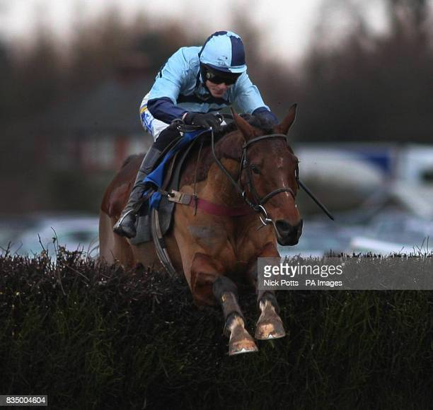 Just Smudge ridden A Coleman jumps the last at during The Sidney Phillips Novices Handicap at Ludlow Racecourse Shorpshire