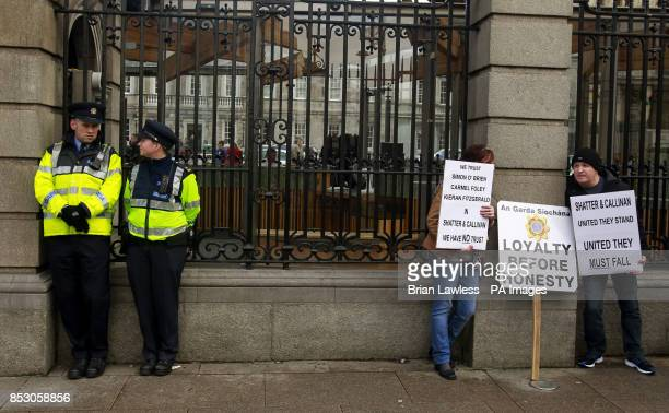 Justice 4 All protestors and members of An Garda Siochana outside Leinster House Dublin ahead of a Justice 4 All protest against Garda malpractice