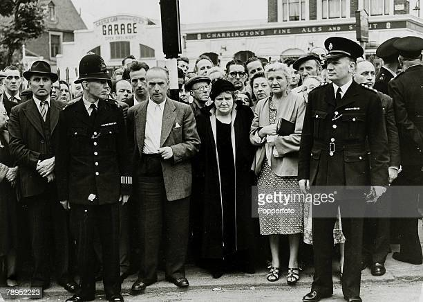 Justice Capital Punishment Great Britain pic 13th July 1955 Police watch over the crowd gathered at Holloway Prison where Ruth Ellis was to be...