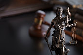 Statue of justice – Themis in the judge office.