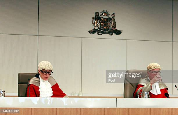 Justice Elizabeth Fullerton and Justice Peter McCellan alongside Justice Peter Garling preside over the court as Jeffrey Gilham is acquitted for the...