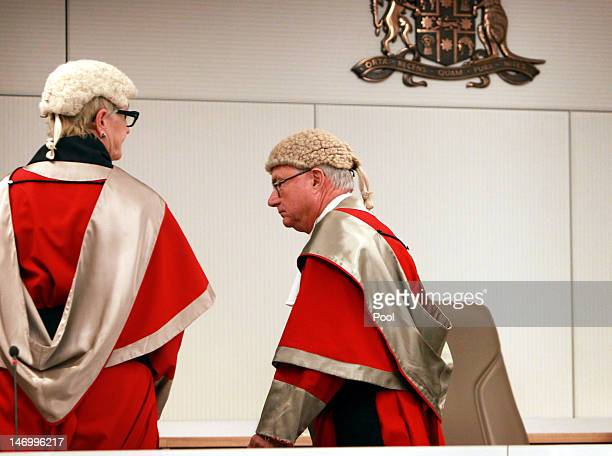 Justice Elizabeth Fullerton and Justice Peter McCellan leave the court as Jeffrey Gilham is acquitted for the murder of his parents at the Supreme...