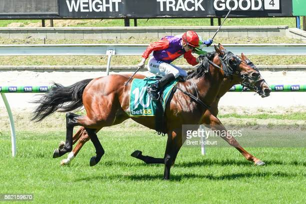 Justice Faith ridden by Beau Mertens wins the Elusive Style Maiden Plate at Kyneton Racecourse on October 17 2017 in Kyneton Australia
