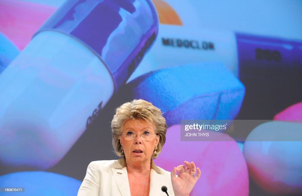 EU justice, fundamental rights and citizenship commissioner Viviane Reding speaks during a press conference on new EC proposals to strengthen the European Unions ability to respond to legal highs , the low-rent alternatives to more well-known narcotics on September 17, 2013 at the EU Headquarters in Brussels.