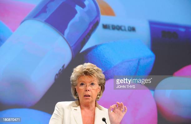 EU justice fundamental rights and citizenship commissioner Viviane Reding speaks during a press conference on new EC proposals to strengthen the...