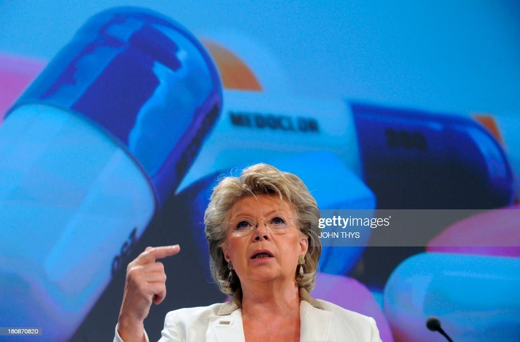 EU justice, fundamental rights and citizenship commissioner Viviane Reding speaks during a press conference on new EC proposals to strengthen the European Unions ability to respond to legal highs , the low-rent alternatives to more well-known narcotics on September 17, 2013 at the EU Headquarters in Brussels. AFP PHOTO/JOHN THYS