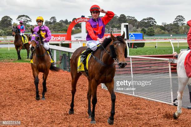Justice Glory ridden by Ben E Thompson returns to scale after winning the Spicer Thoroughbreds Handicap at Ladbrokes Park Hillside Racecourse on...