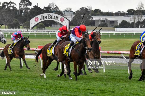 Justice Glory ridden by Ben E Thompson wins the Spicer Thoroughbreds Handicap at Ladbrokes Park Hillside Racecourse on August 16 2017 in Springvale...