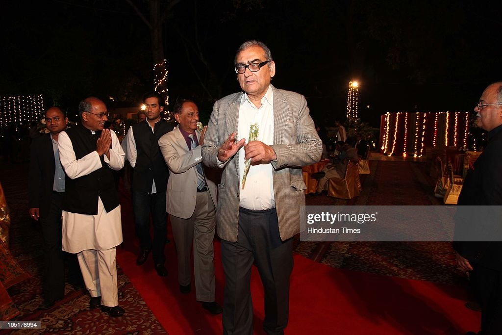 Justice Markandey Katju at the wedding reception of educationist Dr SB Mujumdar's grandson Ameya Yeravdekar and Swati Thorat at Delhi Gymkhana on March 22, 2013 in New Delhi, India.