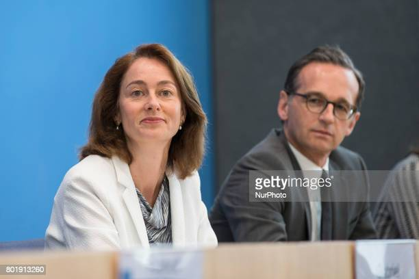 Justice Minister Heiko Maas and Family Minister Katarina Barley attend a news conference to illustrate the work of the party during the last...