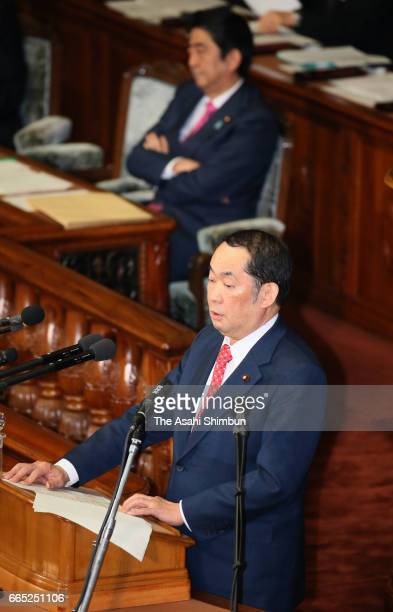 Justice Minister Katsutoshi Kaneda explains the contents of an anticonspiracy bill at a Lower House plenary session at the Diet building on April 6...