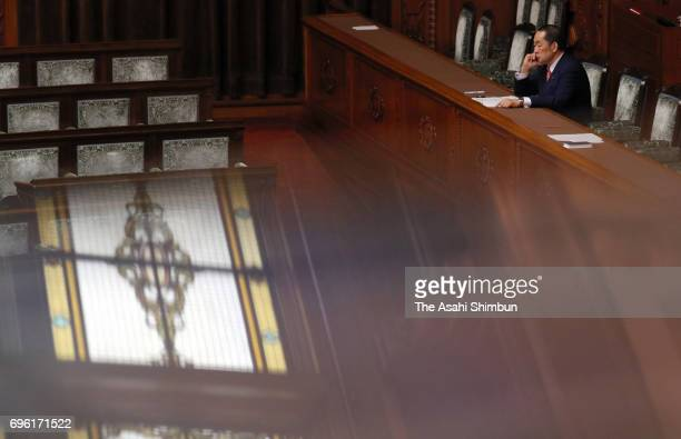 Justice Minister Katsutoshi Kaneda listens to deliberation ahead of anticonspiracy legislation voting at an Upper House plenary session at the Diet...