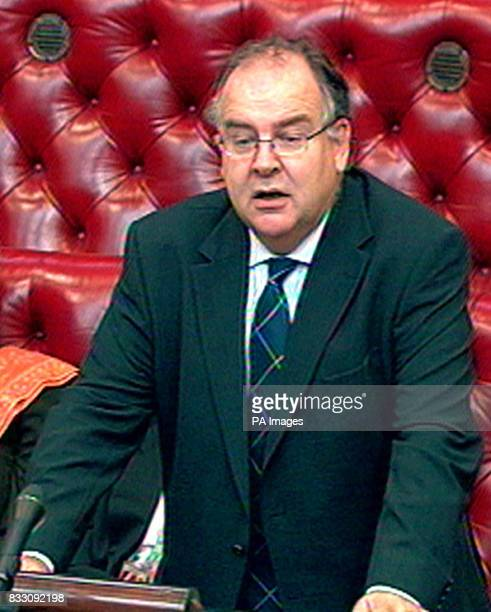 Justice Minister Lord Falconer speaks in the House of Lords London where he announced prisoners in England and Wales serving less than four years...