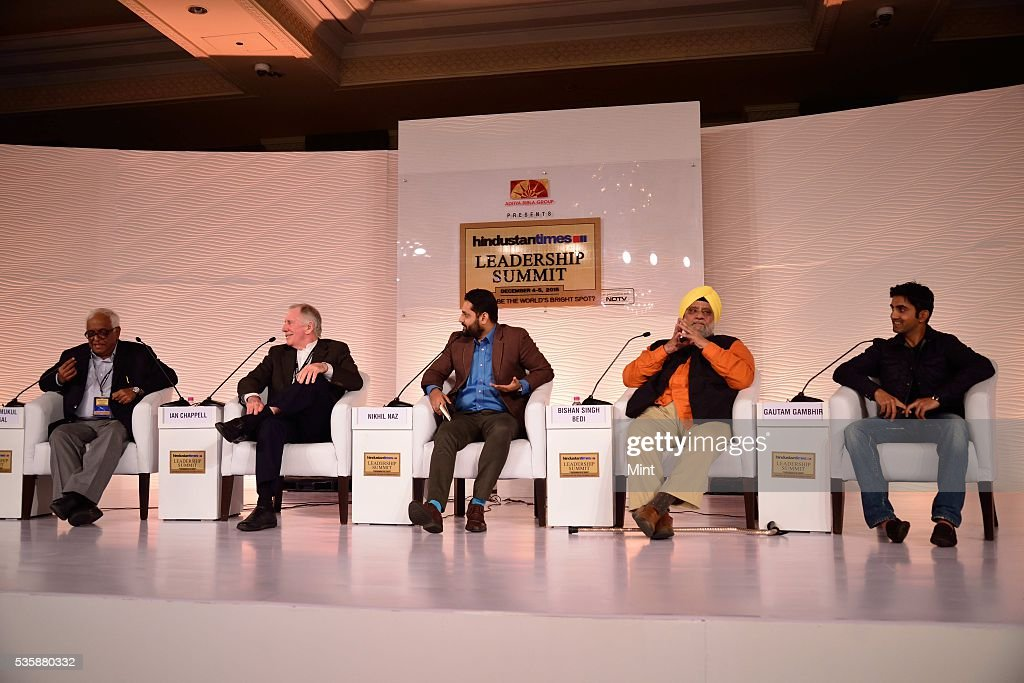 Justice Mukul Mudgal, Ian Chappell, Nikhil Naz, Bishan Singh Bedi and Gautam Gambhir during a session on Can BCCI Be Professionalized? at Hindustan Times Leadership Summit 2015 on December 5, 2015 in New Delhi, India.