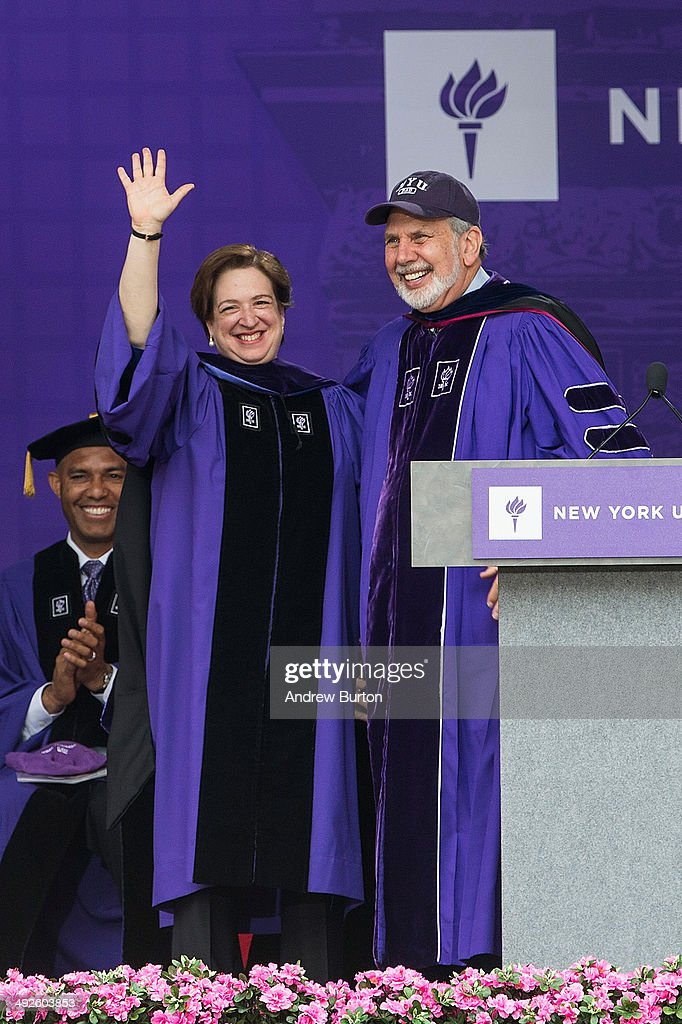 Justice of the Supreme Court <a gi-track='captionPersonalityLinkClicked' href=/galleries/search?phrase=Elena+Kagan&family=editorial&specificpeople=5704239 ng-click='$event.stopPropagation()'>Elena Kagan</a> (L) receives an honorary doctorate during the 2014 graduation ceremony for New York University at Yankee Stadium on May 21, 2014 in the Bronx borough of New York City. Janet Yellen, Chair of the Board of Governors of the Federal Reserve System, received an honorary doctorate and was the 2014 commencement speaker.