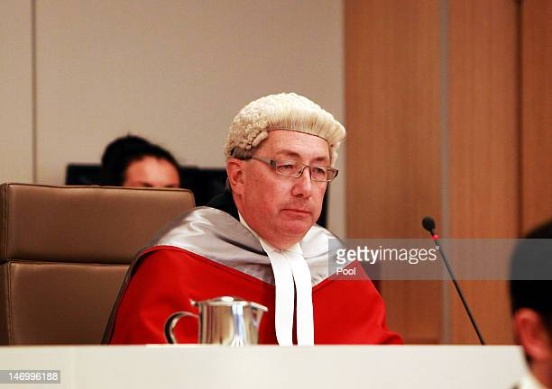 Justice Peter Garling presides over the court alongside Justice Elizabeth Fullerton and Justice Peter McCellan as Jeffrey Gilham is acquitted for the...