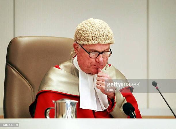 Justice Peter McClellan presides over the court with colleagues Justice Peter Garling and Justice Elizabeth Fullerton as Jeffrey Gilham is acquitted...